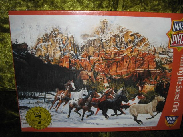 Image 0 of Master Pieces horses running cliffs 1000 pc Bob Quick artist Puzzle 19 by 26