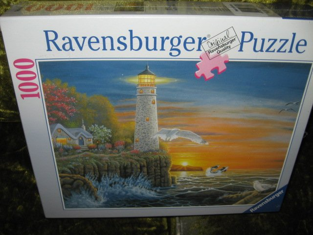 Lighthouse Gulls Evening Lights Ravensburger Puzzle 1000 piece  20 by 27 inch