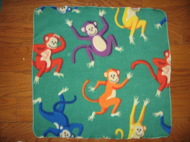 Image 0 of monkey toddler blanket jungle animal soft green car seat warmth fleece