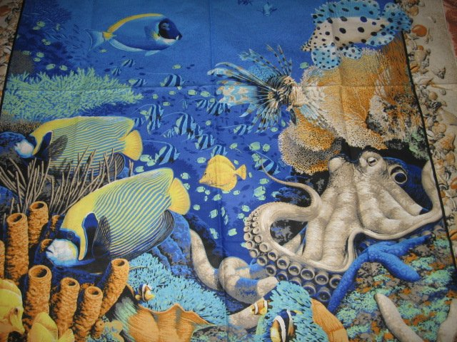 Image 0 of Coral Sea Ocean Octupus Turtle Spiny Fish  Fabric Wall Panel to sew //