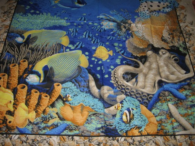 Image 1 of Coral Sea Ocean Octupus Turtle Spiny Fish  Fabric Wall Panel to sew //