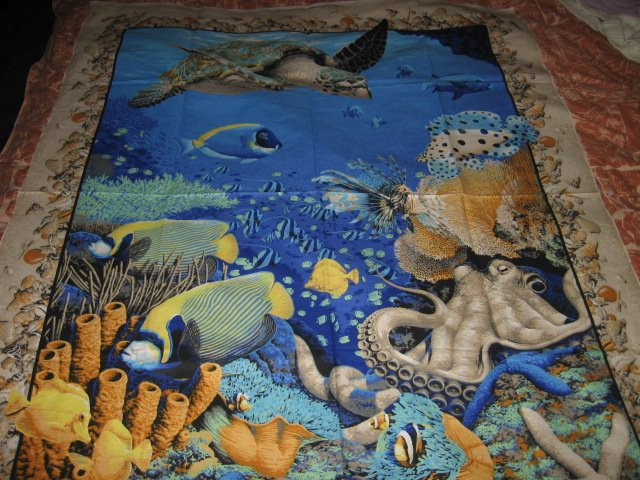 Image 2 of Coral Sea Ocean Octupus Turtle Spiny Fish  Fabric Wall Panel to sew //