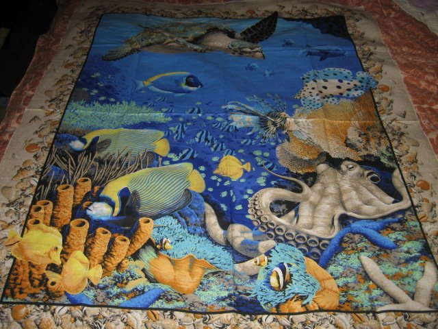 Image 3 of Coral Sea Ocean Octupus Turtle Spiny Fish  Fabric Wall Panel to sew //