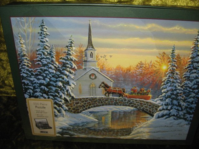 Image 1 of winter sleigh ride church bridge 500 piece 18 in by 24 inch