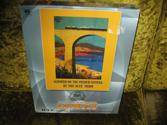 Image 1 of French Riviera Summer Orient Express 1000 piece puzzle 20 X 26 inch