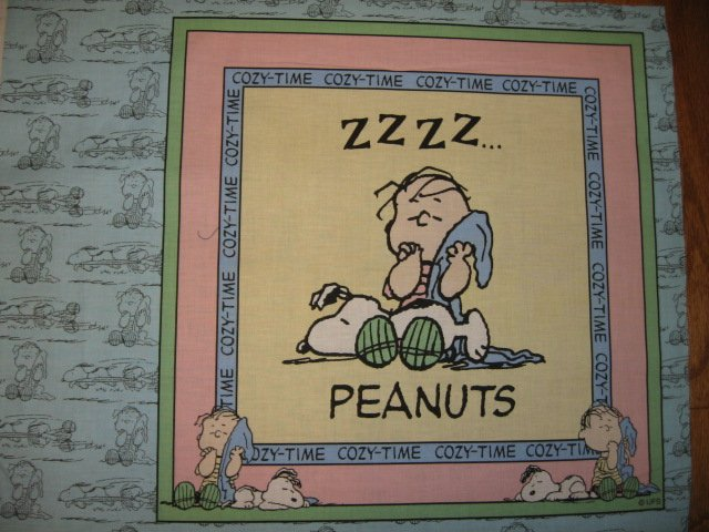 Snoopy Linus Peanuts  Fabric  Pillow Panel to sew pink