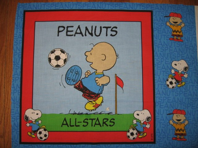 Charlie Brown All Stars Soccer Peanuts  Fabric  Pillow Panel to sew