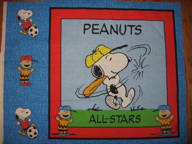 Snoopy All Stars Baseball Peanuts  Fabric  Pillow Panel to sew