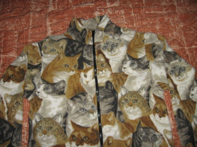 Image 0 of Cat faces fleece women hand made jacket w/zipper