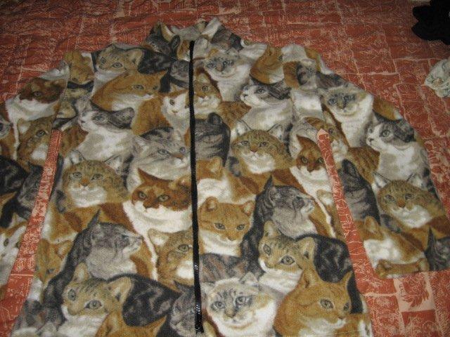 Image 1 of Cat faces fleece women hand made jacket w/zipper