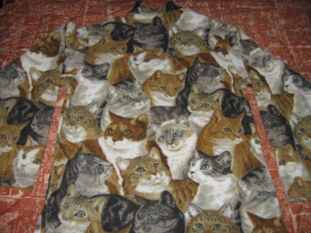 Image 2 of Cat faces fleece women hand made jacket w/zipper