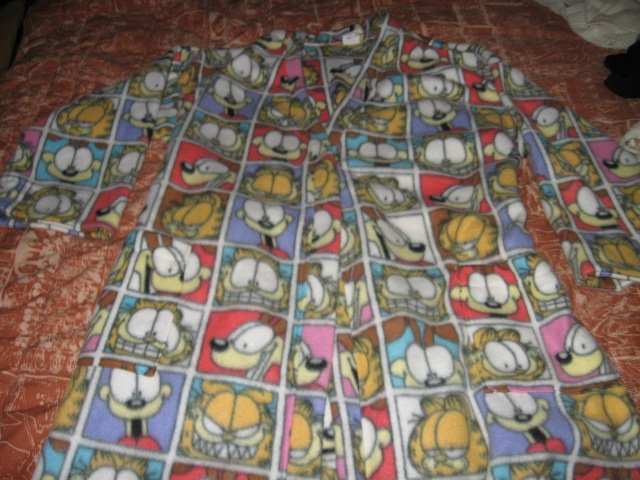 Image 1 of Garfield fleece large tall bathrobe