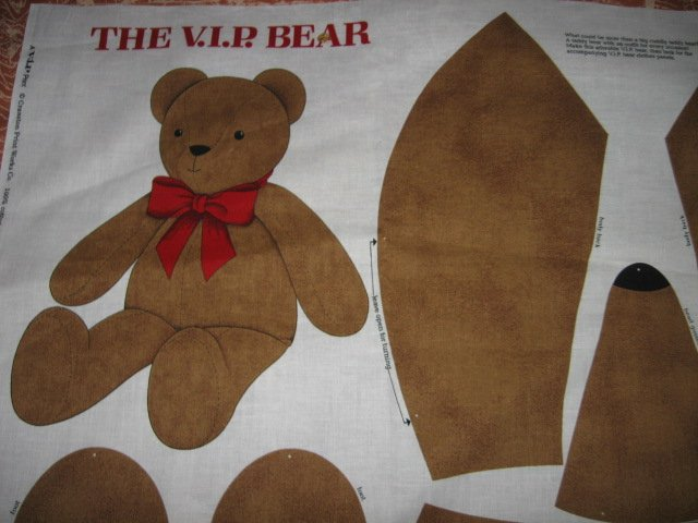VIP Bear  24 inch fabric doll panel to sew