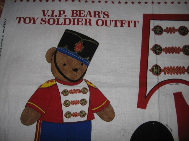 VIP Bear  Toy Soldier Outfit Fabric Panel To Sew