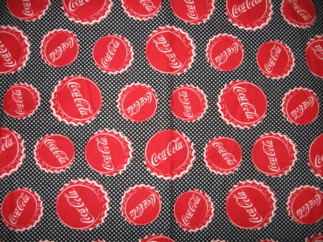 Image 0 of coca cola bottlecaps logo 100% Cotton Flannel 36 inch piece RARE