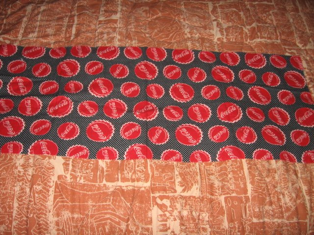 Image 1 of coca cola bottlecaps logo 100% Cotton Flannel 36 inch piece RARE