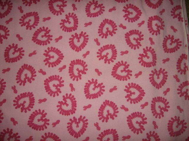 Image 0 of Hearts ribbon pink Fleece Blanket for cancer patient gift