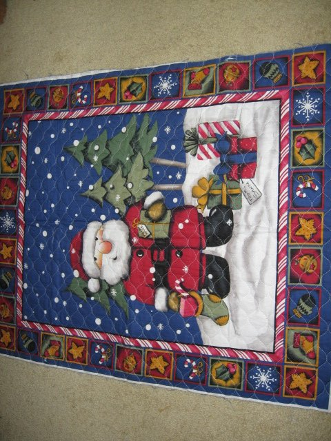 Image 0 of Santa presents quilt candy cane holly snow balls stars bells