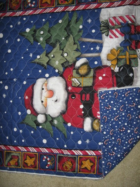 Image 1 of Santa presents quilt candy cane holly snow balls stars bells