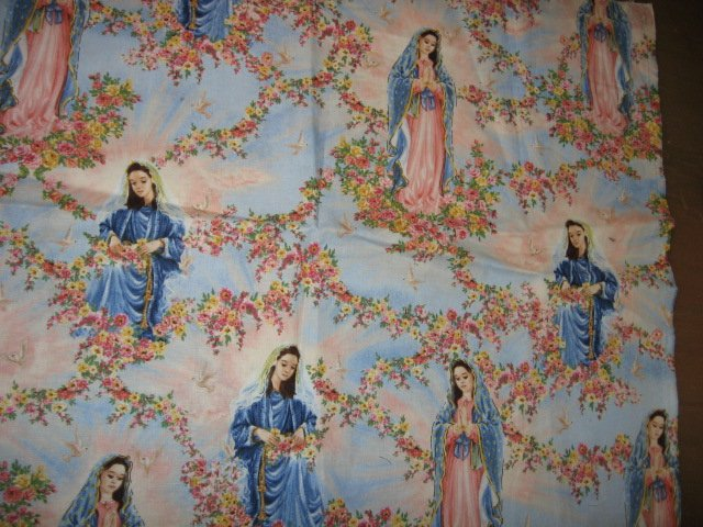 Image 0 of Virgin Mary cotton fabric piece 15 inch by 40 inches wide