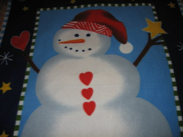 Image 0 of Snowman carrot nose red hat hearts Fleece bed Blanket adult child