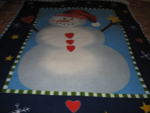 Image 1 of Snowman carrot nose red hat hearts Fleece bed Blanket adult child