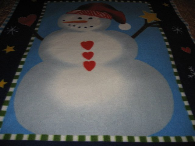 Image 2 of Snowman carrot nose red hat hearts Fleece bed Blanket adult child