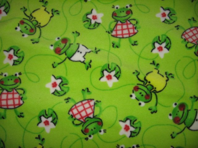 Image 0 of frogs smiling happy green fleece toddler 30 X 38 inch blanket