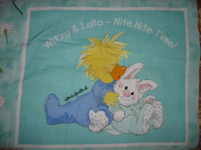Suzy's Zoo Witzy Lulla Nite Nite Time Pillow Panel Licensed fabric  to sew