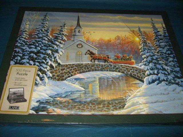 Horse sleigh winter bridge victorian Puzzle 500 piece