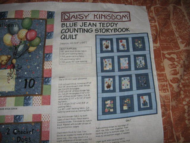 Blue Jean Teddy Counting Storybook or quilt to sew