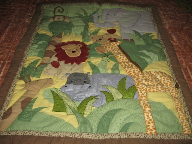 Giraffe Monkey Lion Elephant Hippo crib quilt with backing fabric