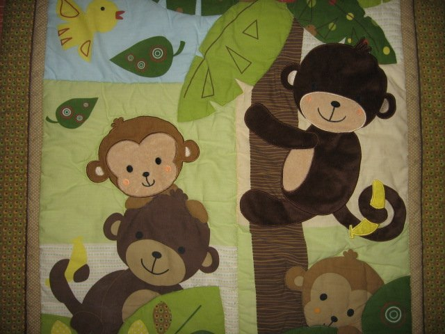 Monkey Tree Jungle crib quilt with backing fabric