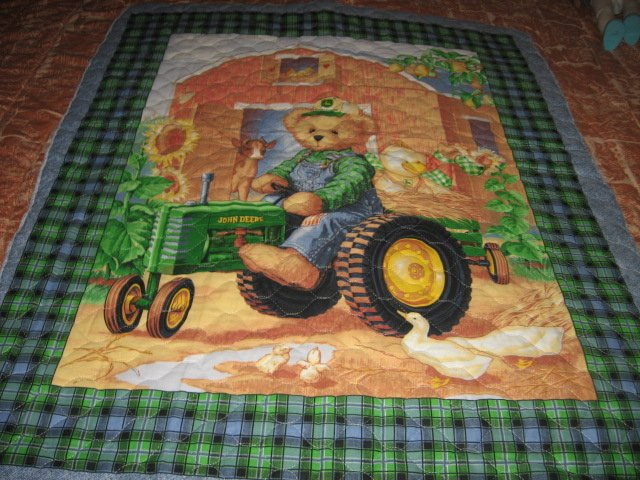 Blue Jean Teddy John Deere tractor crib quilt finished edge