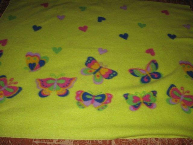 Butterflys Hearts Light  Green Fleece blanket