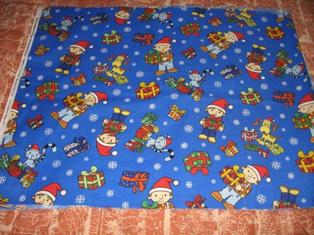 Bob the Builder Christmas presents hat snowflake cat dog cotton fabric