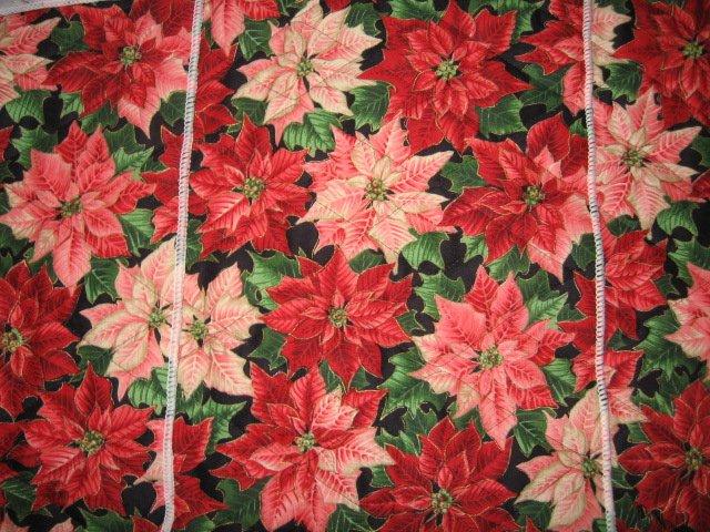 Poinsettia Christmas or Thanksgiving center mat runner quilted