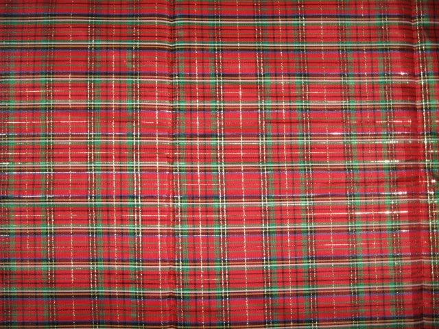 Tartan red silky fabric scottish appearance  By The Yard