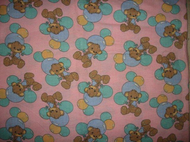 teddybear balloon pink precious moments flannel