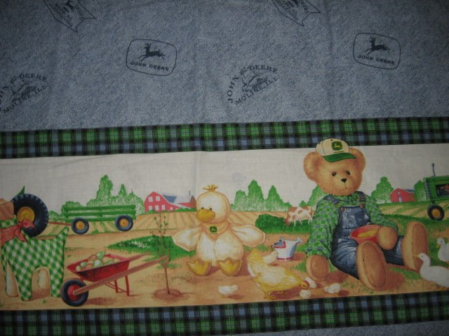 Bluejean teddy john deere border print logo fabric