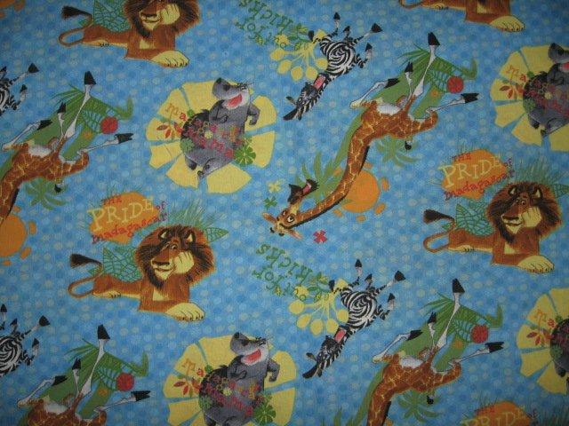 Madagascar lion jungle zebra giraffe  fabric colorful
