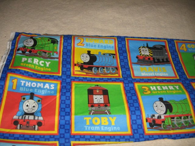 Thomas the Tank train engine and friends fabric squares