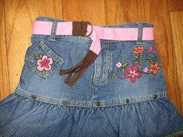 jean girl skirt embroidered flowers belt shorts