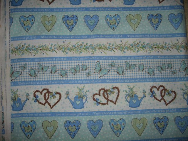 Blue white stripes hearts cotton 2 yds 6 in by 1 yd 6 in