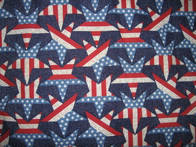 stars and stripes colorful fabric 42 inch square