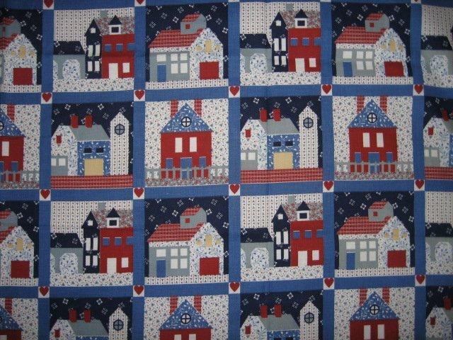 house houses cute fat quarter fabric