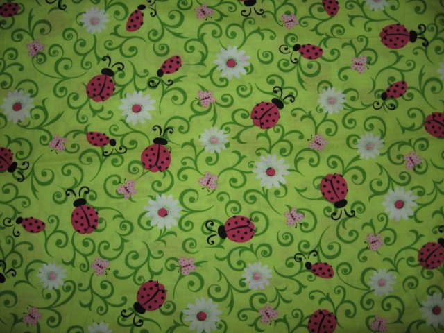 Lady bug butterfly green fabric cotton