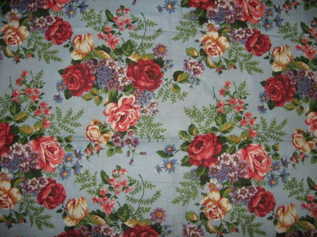 rose roses blue cotton fabric  42 inch wide by 25 inch long