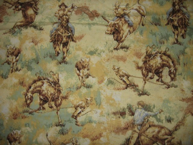 cowboy bucking bronco cotton fabric 34 inch by 44 inch