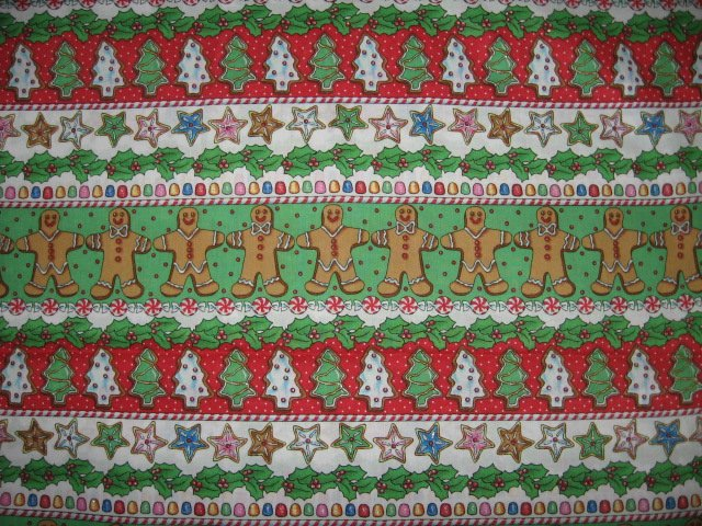 Christmas red and green gingerbread men cotton fabric